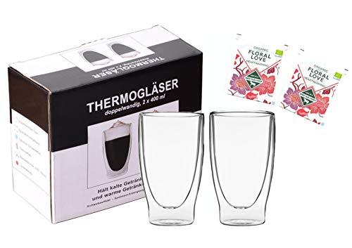 """Teeset: 2x 400ml lang + 2x BIO-Tee """"Floral Love"""" - doppelwandige Gläser / Thermogläser mit Schwebe-Effekt / 2x BIO Teebeutel Früchtetee, Hagebutte, Hibiskus … / DUOS-SET by Feelino"""