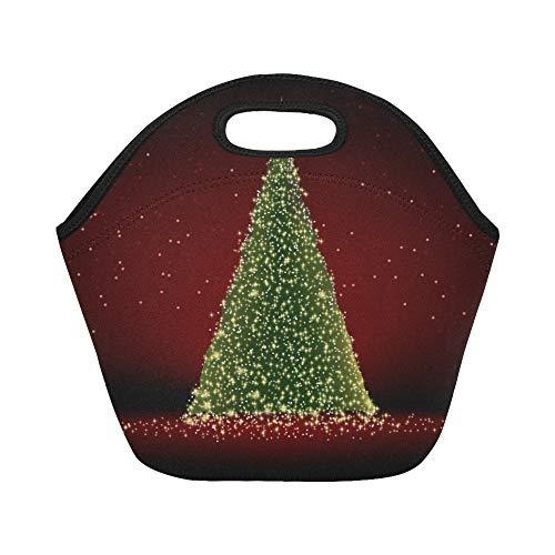 JOCHUAN isolé Neoprene Lunch Bag Abstrait Arbre de Noël Vert sur Rouge Grande Taille réutilisable Thermique épais Sacs fourre-Tout pour des boîtes à Lunch pour l'extérieur, Travail, Bureau, école