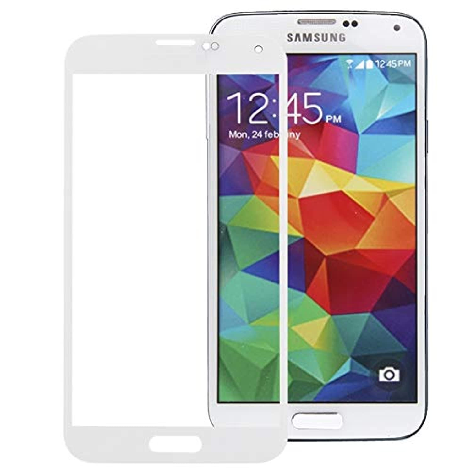 TTDY Replacement for Galaxy S5 / G900 Front Screen Outer Glass Lens(Purple) Parts (Color : White)