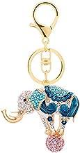 Metalen Sleutelhanger, Met Diamanten Ingelegde Driedimensionale Autotas-hanger Van Olifanten blauw