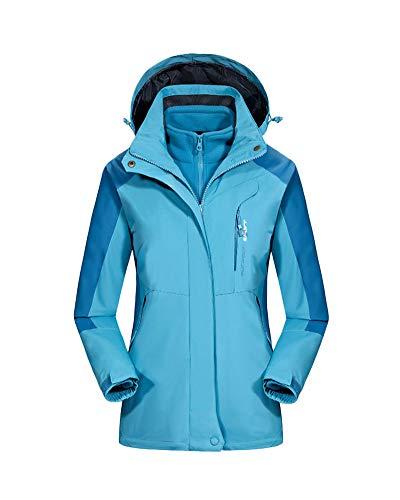 Veste Impermeable pour Homme/Femmes Coupe-Vent Extérieure Grande Taille Respirant Alpinisme Voyage À Capuche Veste Lake Bleu F 3XL