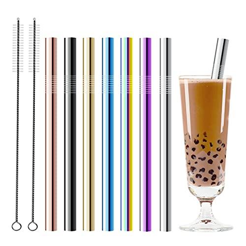Reutilizables Pajitas de Metal - Pajitas de Acero Inoxidable,5/7pcs Pajitas para Tazas 20/30 Oz con 2 cepillos para BOBA, Bubble tea, Smoothies (multicolor)