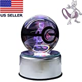 Halo Design Large Character LED Crystal Ball Night Light 80MM & Gift Box (Mewtwo)