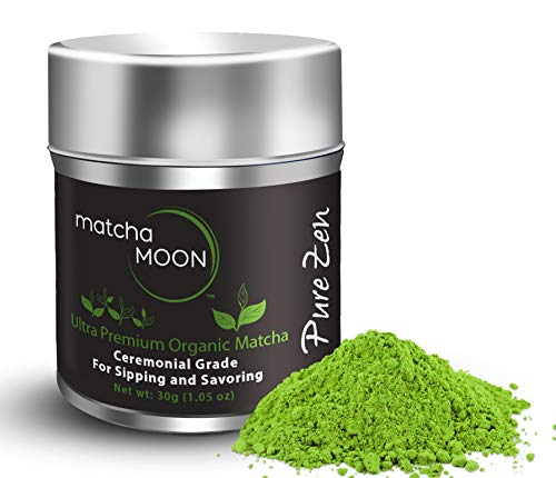 Matcha Moon Pure Zen - Organic Premium Ceremonial Grade Matcha Green Tea Powder - Grown in Uji, Kyoto Japan - (Best For Traditionally Whisked Tea) - 30g Tin (1 oz.)