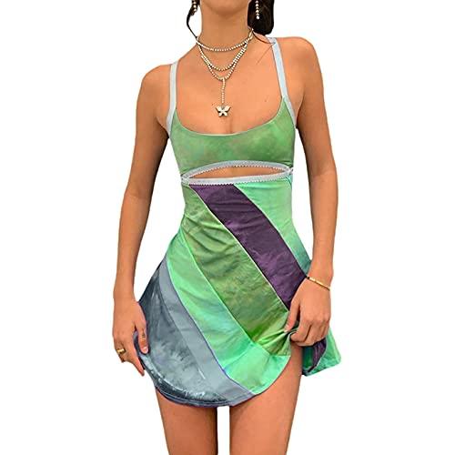 ASLBSBOXWOMEN Vestido de mujer recortado Y2k corte bajo mini vestidos volantes ahuecado rayas sin espalda vestido de fiesta Streetwear, Verde 1, Small