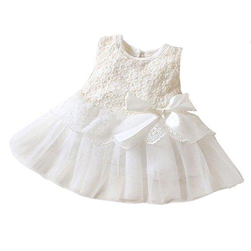 Yimidear ベビードレス 子供ドレス ガールズ チュールスカート 赤ちゃん 洋服 ワンピース 可愛い リボン 発表会 結婚式 入園式 誕生日 クリスマス パーティー フォーマルドレス(長さ:33CM, ホワイト)