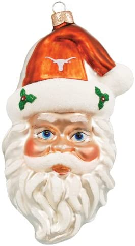 NCAA Texas Longhorns NCAA Glass Santa Head Ornament product image