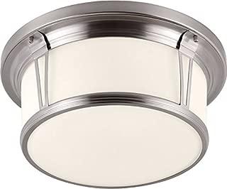 Feiss FM389BS Woodward Glass Flush Mount Ceiling Lighting, Satin Nickel, 3-Light (17