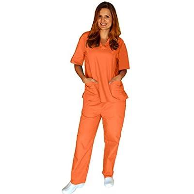 Women's Scrub Set - Medical Scrub Top and Pant, Mandarin Orange, XXX-Large