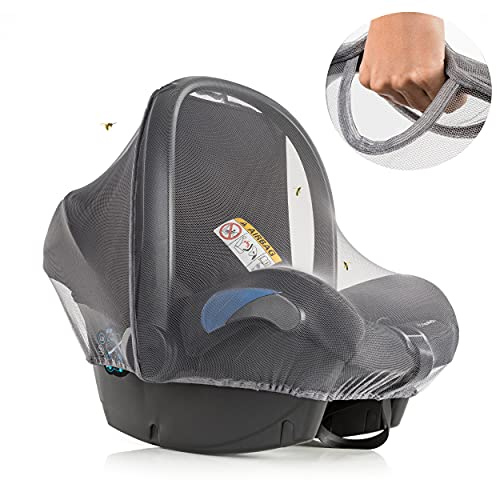 Inlesioo Mosquito Net for Baby Car Seats – Infant Car Seat Insect Mesh Net - Universal Fit, Premium Quality: Machine Washable - Gray