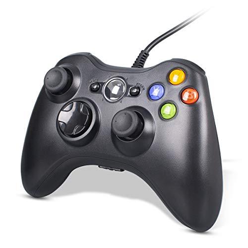 CHEREEKI Controller per PC, Controller di Gioco Cablato per Xbox 360, Xbox 360 Slim con Doppia Vibrazione e Design Ergonomico (Bianco)
