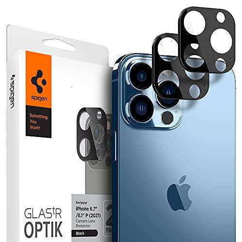 Spigen Glas.TR Optik Protezione Fotocamera Compatibile con iPhone 13 PRO, iPhone 13 PRO Max, 2 Pezzi, Néro, Resistente ai Graffi, Durezza 9H Pellicola prottetiva