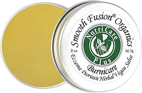 Nutricare Plus BurniCare Eczema, Psoriasis Herbal Vegan Salve – Balm, 2 Ounce Tin, Unscented, Rosacea, Shingles, 15 Certified Organic Ingrs, Healing Cream, Burns, Rashes, Cracked, Itchy Skin Relief