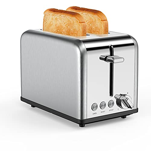 Toaster 2 Slice Wide Slots 825 W, Polished Stainless Steel Housing, 6 Browning Settings, High Lift Feature, Defrost Cancel and Reheat Functions, Slide Out Crumb Tray
