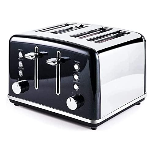 XTZJ 4 tostadora de rebanada, acero inoxidable, tostadora de panecillos - 6 ajustes de tono de pan, panecillo / descongelar / recalentar / cancelar la función con paneles de control dual, 4 ranuras ex
