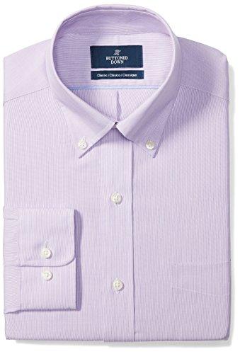 Amazon Brand - Buttoned Down Men's Classic Fit Button-Collar Pattern Non-Iron Dress Shirt, Purple...
