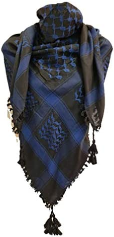 Black Blue Shemagh Head Arab Scarf Neck Wrap 100 Cotton Army Face Cover Tactical product image