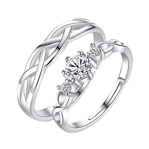 minjiSF Anillos de plata de ley con incrustaciones de diamantes para mujer y hombre, 2 unidades, diseño retro