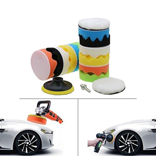 15pcs 4'' Polishing Sponge Pad,Polishers and Buffers Waxing Set for Car Sanding Auto Polisher Buffer Set With M10 Drill Adapter Kit For Car Polishing Waxing Cleaning