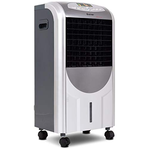 CASART 5-in-1 Portable Air Cooler & Heater - Compact Evaporative Air Conditioner with Fan Filter Humidifier, 3 Fan Speeds, 8 Hour Timer, 7L Water Tank, Ice Crystal Box, Remote Control, LED Panel