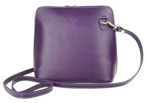 Girly Handtaschen Vera Pelle Echtleder Schlangenhaut starr Umhängetasche echt italienisch, Violett - dunkelviolett - Größe: W 17, H 17, D 8 cm (W 6, H 6, D 3 inches)