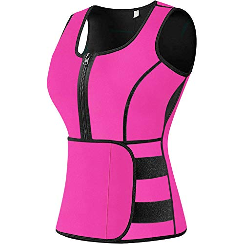 Sweat Vest Waist Trainer for Women Weight Loss Neoprene Sauna Slimming Vest with Adjustable Waist Trimmer Belt Pink