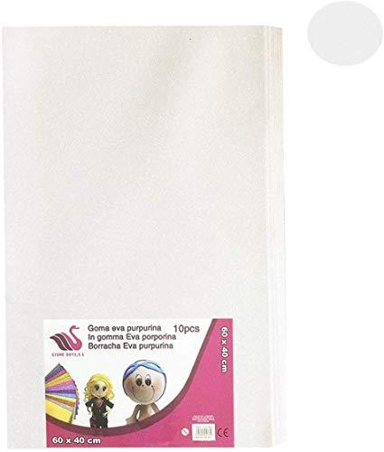 Cisne 2013, S.L. Goma Eva Purpurina 40x60 cm, 2mm Grosor, 10 láminas,Color Blanco