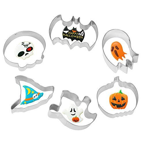 6 moldes para galletas de Halloween de acero inoxidable con forma de calavera, sombrero de bruja, murciélago, fantasma, calabaza, herramienta de decoración de galletas de Halloween