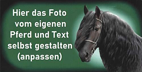 Pferdeschild aus hochwertigem Aluminium mit Foto Bild Motiv von Deinem Pferd und Text Namen oder Spruch selbst gestalten ✓ Boxenschild ✓ Stallschild ✓ Stalltafel ✓ Boxentafel ✓ Stall Gatter Box ✓