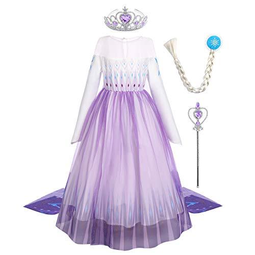 OBEEII Vestido de Princesa Elsa Vestido Niñas Disfraz Traje de Cumpleaños Ninas Fancy Dress Nina Disfraz Elsa Princesa Cosplay 7-8 Años