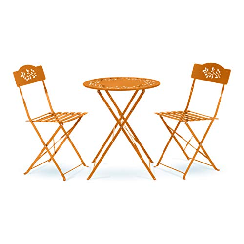 Alpine Corporation Indoor/Outdoor 3-Piece Bistro Set Folding Table and Chairs Patio Seating, Orange