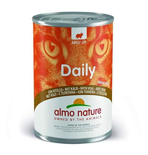 almo nature Daily Grain Free Katzenfutter mit Kalb, Alleinfutter für Erwachsene Katzen,Nassfutter- 24er Pack (24 x 400 g)