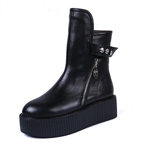 RoseG Mujer Zapatos Punk Creepers Plataforma Botas Black Negro Size37
