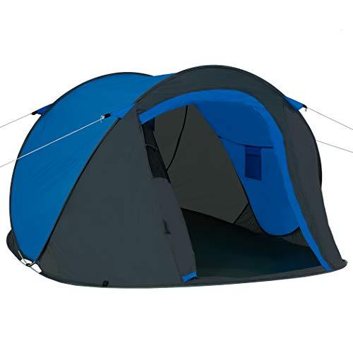 Duhome Pop Up Strandzelt Polyester Grau + Blau blitzschneller Aufbau Zelt Wurfzelt Wetter- und Sichtschutz Farbauswahl PT-001
