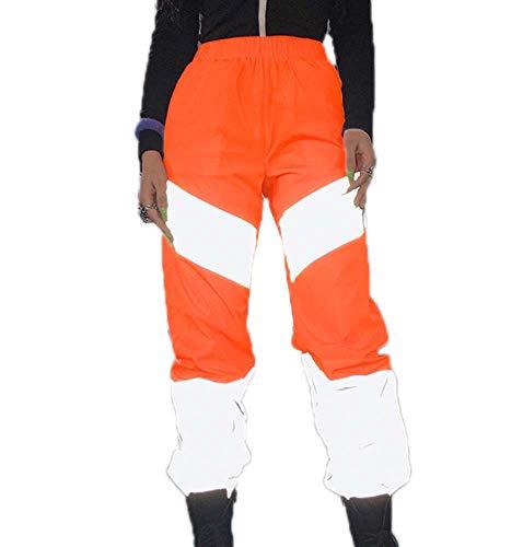 huateng Frauen Nähte Reflektierende Hosen Damenmode Sport Nachtlauf Jogginghose