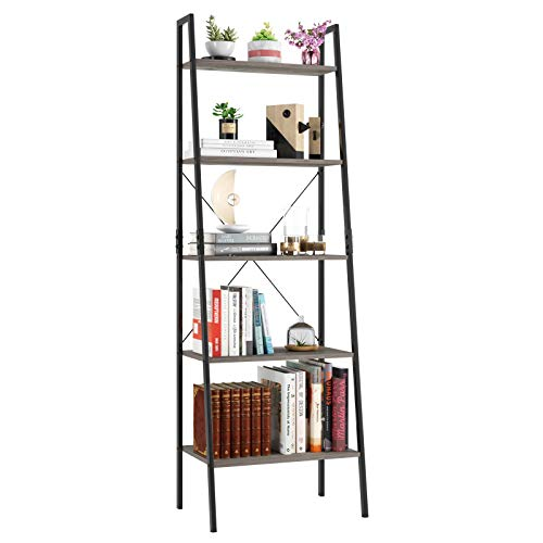 Homfa Industrial Ladder Shelf, 5 Tier Bookshelf Plant Flower Stand Storage Rack Multipurpose Utility Organizer Shelves Wood Look Accent Metal Frame Furniture Home Office - Vintage Gray