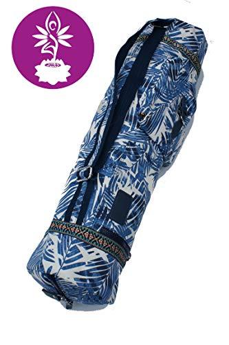Yogatasche aus Baumwolle extra Groß für Yogamatte, Yogazubehör Gym Tasche Rucksack Tragetasche Fitness - Pilates - Yoga (Blau)