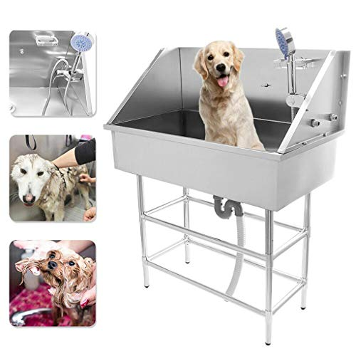 RUNNG Edelstahl Professional Pet Hundepflege Badewanne, Badewäsche Dusche Badewanne Home Shop, mit Wasserhahn und Zubehör Hundewaschplatz Pet Badewanne