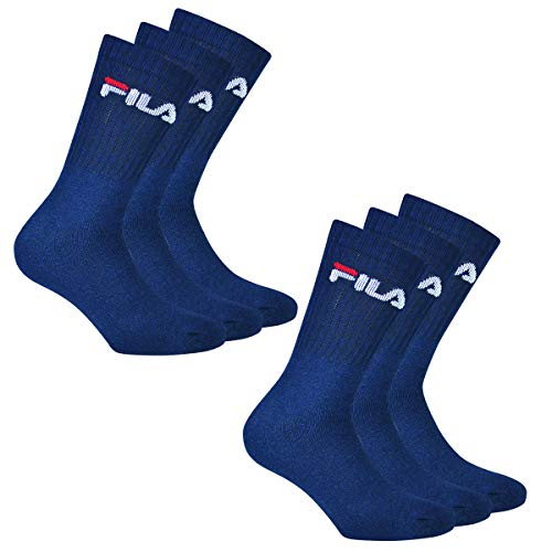 Fila 6 Paar Socken, Frottee Tennissocken mit Logob&, Unisex (2x 3er Pack) (Marine, 39-42 (6-8 UK))