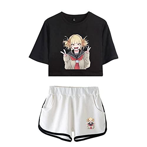 WWZY Anime My Hero Academia Impreso en 3D Cross my Body/Himiko Toga Camiseta y Pantalone Cortos 2 Piezas Conjunto Niñas Mujer Crop Top T-Shirt y Shorts Set,Negro,M