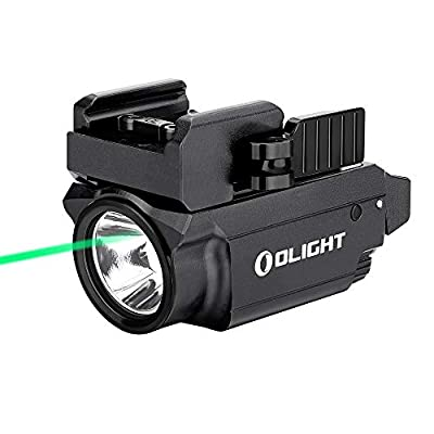 OLIGHT Baldr Mini 600 Lumens Magnetic USB Rechargeable Weaponlight with Green Beam and White LED Combo, Compact Rail Mount Tactical Flashlight with Adjustable Rail (Black)