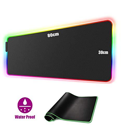 RGB Mauspad, 800 x 300 mm Gaming Mousepad mit 7 LED Farben 10 Beleuchtungs-Modi Mouse Pad Schreibtischunterlage Wasserdicht Anti Rutsch Matte für Computer PC Professionelle Gamer