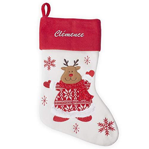 Angolo del Regalo Calza Natalizia Renna di Natale in Maglia con Nome Ricamato