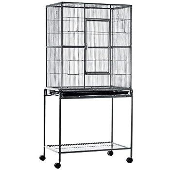 Cage à Oiseaux Portable avec 4 Mangeoires et 4 Perchoirs Pratique 81 x 48 x 163 cm Noir et Gris