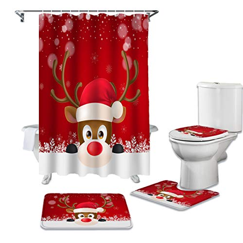 """Bathroom Rugs Shower Curtain Sets, Funny Red Nosed Reindeer Christmas Cartoon Rudolph Deer Shower Curtain with Hooks, 72""""x72""""+Large Toilet Lid Cover and Bath Mat, Polyester Bath Curtain, 4 PCS"""