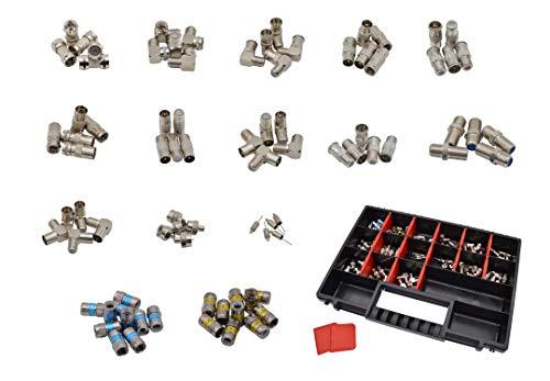 maxx.onLine 80-delige tv-antenne, adapter & F-stekker, installatieset voor antennekabel, coaxkabel, SAT-tv, kabel-tv, SAT-adapter, connector, Cabelcon F-stekker, IEC-adapter