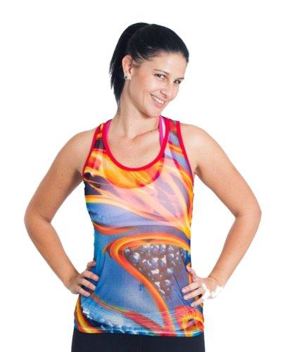 Sara Crave Damen Kleidung, trendige Damen Singlet in einzigartigen Flame Netzstoff - - Klein