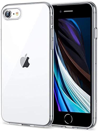 ABE iPhone SE 2020 Funda, iPhone SE 2020/8/7 cubierta con protector de pantalla de vidrio templado, TPU delgado transparente suave, funda trasera de 1,1 mm de grosor, absorción de golpes, cubierta de silicona flexible, transparente