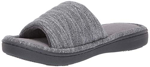 isotoner Women's Space Knit Andrea Slide Slippers, Ash, 7-8