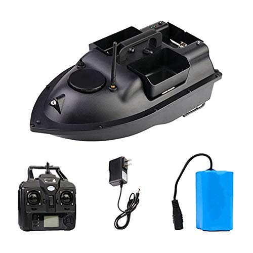 HENGGE RC Sancang bait boat, GPS positioning remote control fishing boat, LED night light intelligent control fish bait boat,Black,GPS 12000MAH